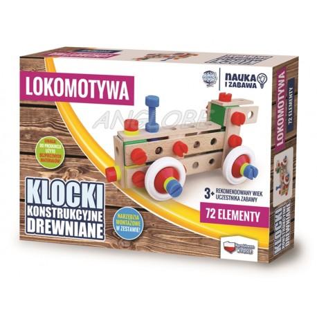 Klocki konstrukcyjne drewniane LOKOMOTYWA