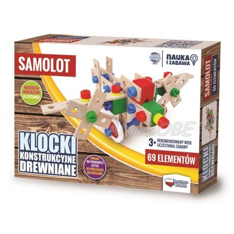 Klocki konstrukcyjne drewniane SAMOLOT